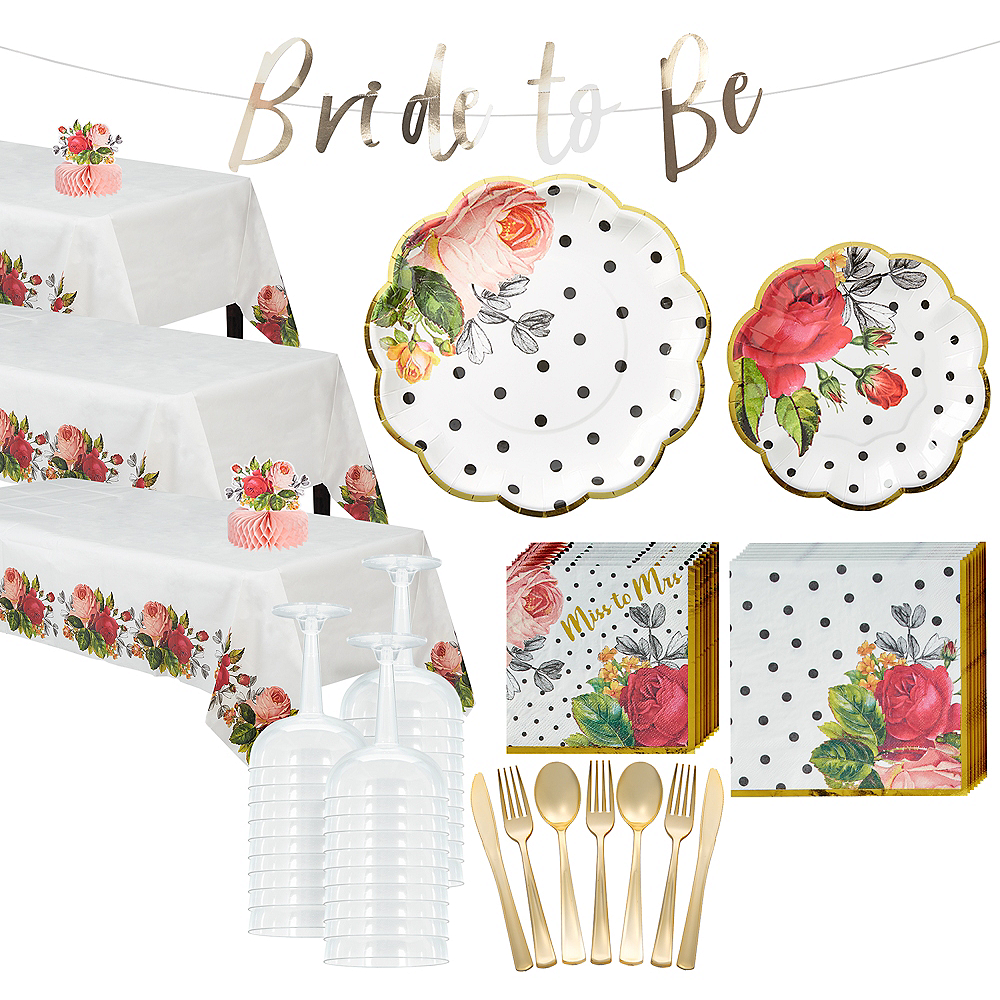 Pop Blush Rose Bridal Shower Tableware Kit for 100 Guests Image #1