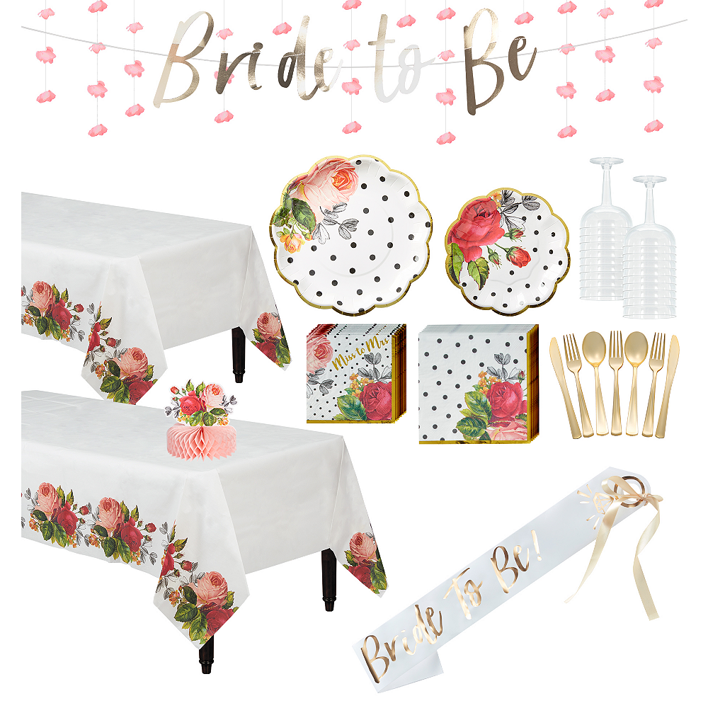 Ultimate Pop Blush Rose Bridal Shower Party Kit for 32 Guests Image #1