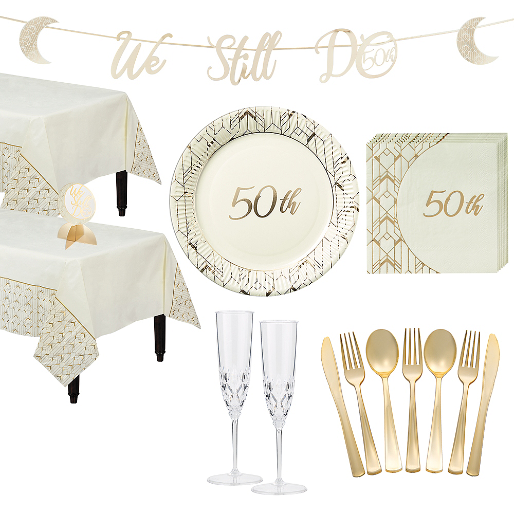 Gold 50th Wedding Anniversary Tableware Kit for 36 Guests Image #1