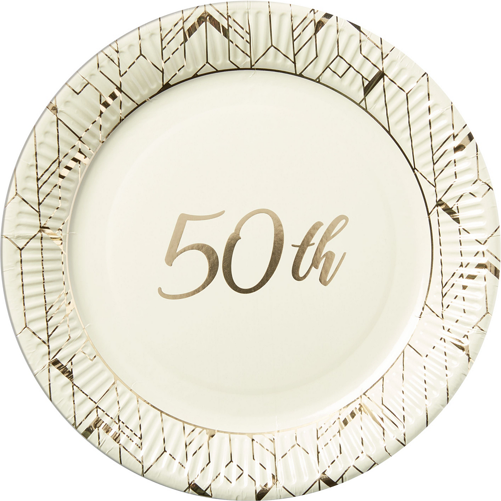 Gold 50th Wedding Anniversary Tableware Kit for 36 Guests Image #2