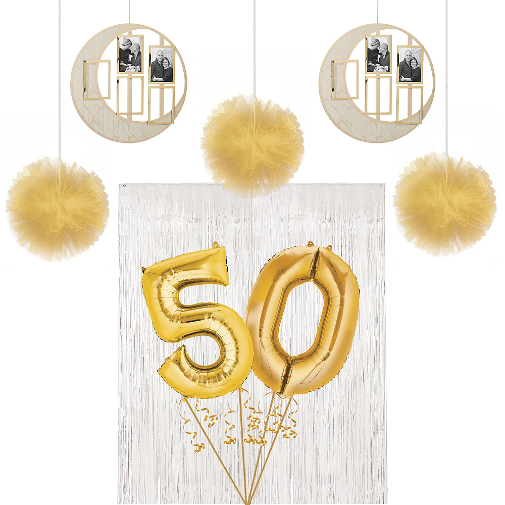 Gold 50th Wedding Anniversary Photo Booth Backdrop Kit Image #1