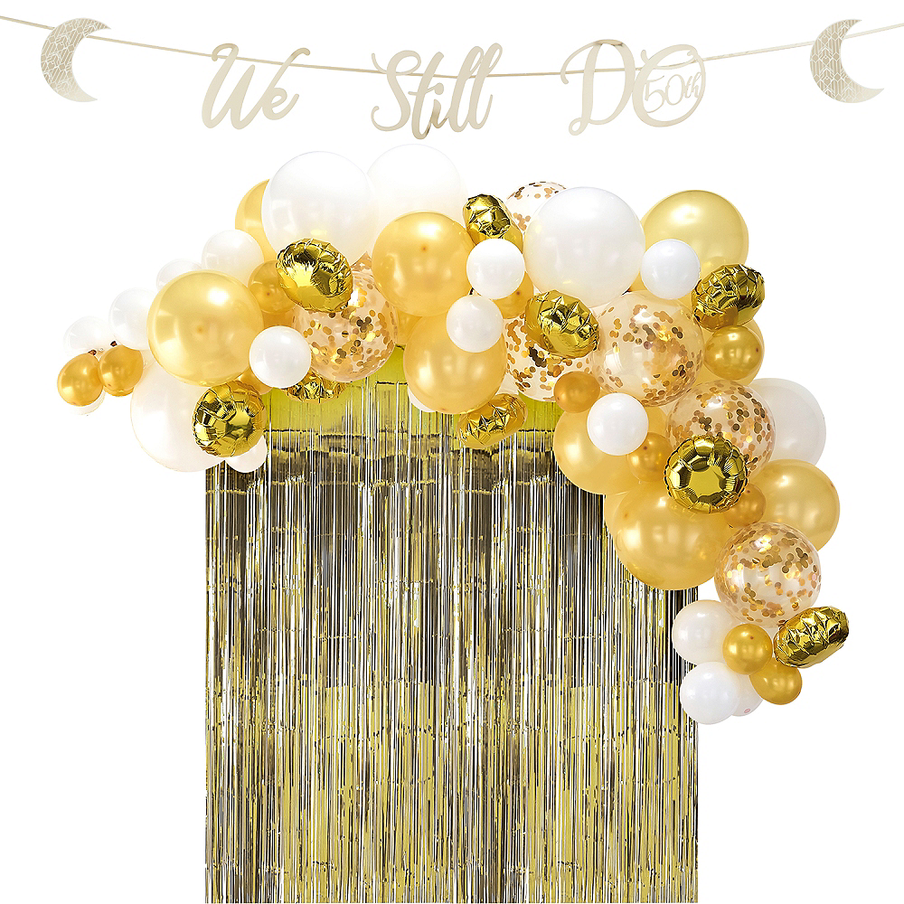 Nav Item for Gold 50th Wedding Anniversary Buffet Table Decorating Kit Image #1