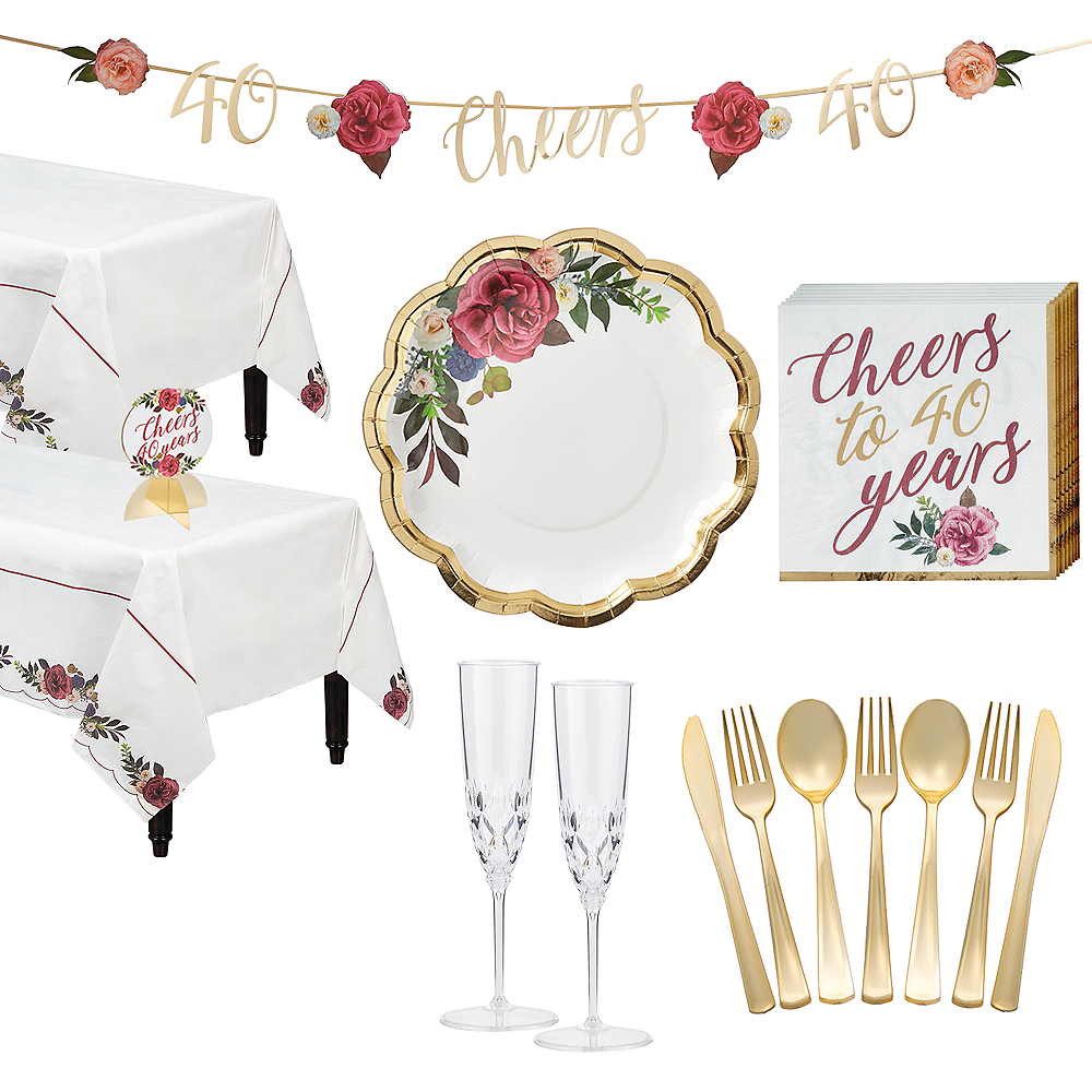 Ruby 40th Wedding Anniversary Tableware Kit for 36 Guests Image #1