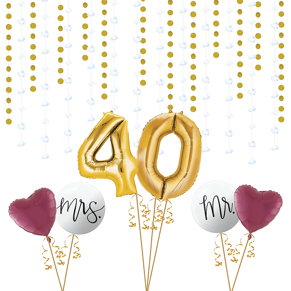 Ruby 40th Wedding Anniversary Photo Booth Backdrop Kit Image #1