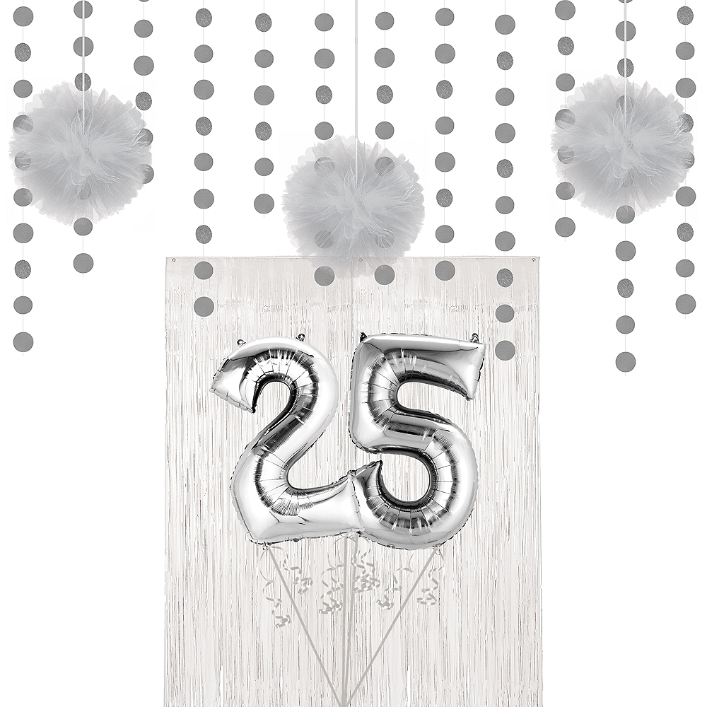 Silver 25th Wedding Anniversary Photo Booth Backdrop Kit Image #1