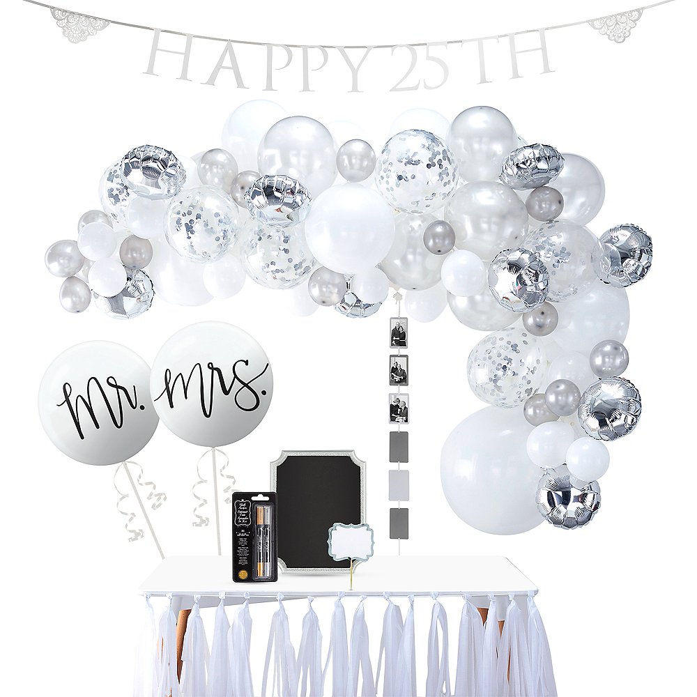 silver 25th wedding anniversary buffet table decorating kit