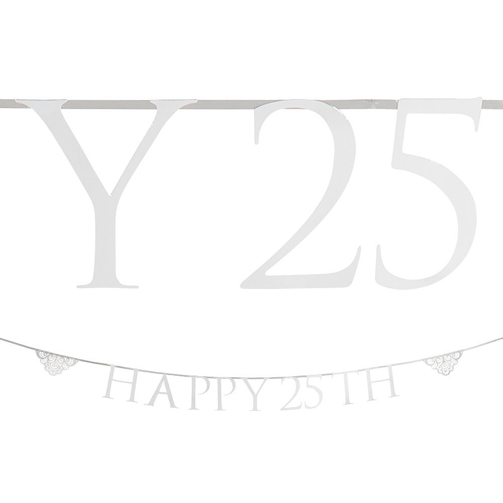 Silver 25th Wedding Anniversary Buffet Table Decorating Kit Image #8