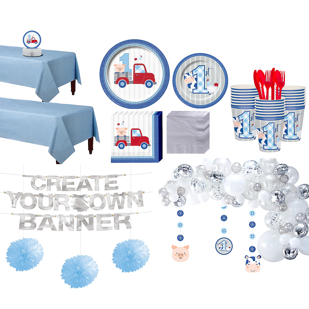 Blue Farmhouse 1st Birthday Party Kit for 32 Guests Image #1