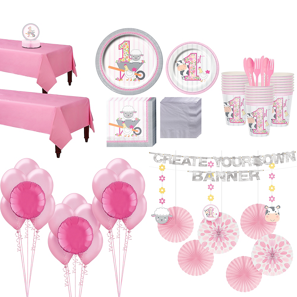 Super Pink Farmhouse 1st Birthday Party Kit for 32 Guests Image #1