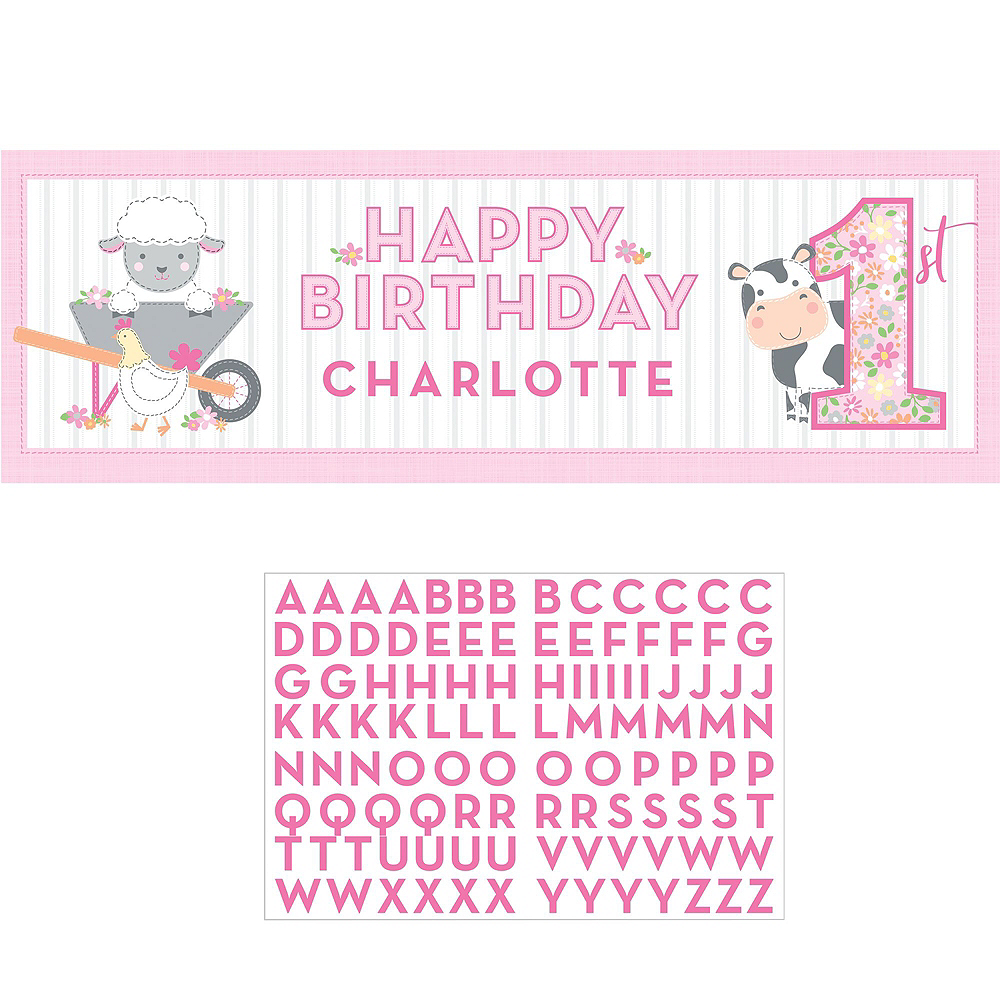 Super Pink Farmhouse 1st Birthday Party Kit for 32 Guests Image #12