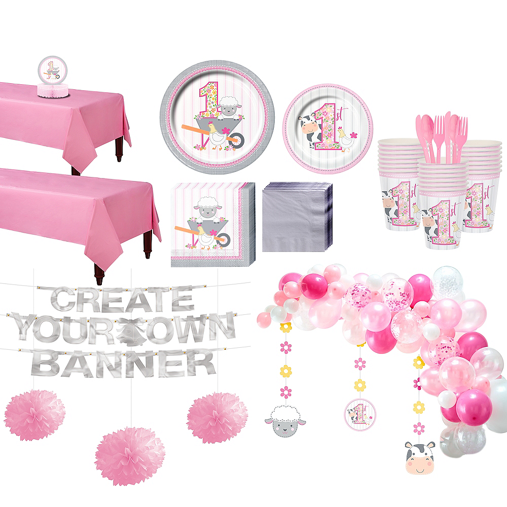 Pink Farmhouse 1st Birthday Party Kit for 32 Guests Image #1