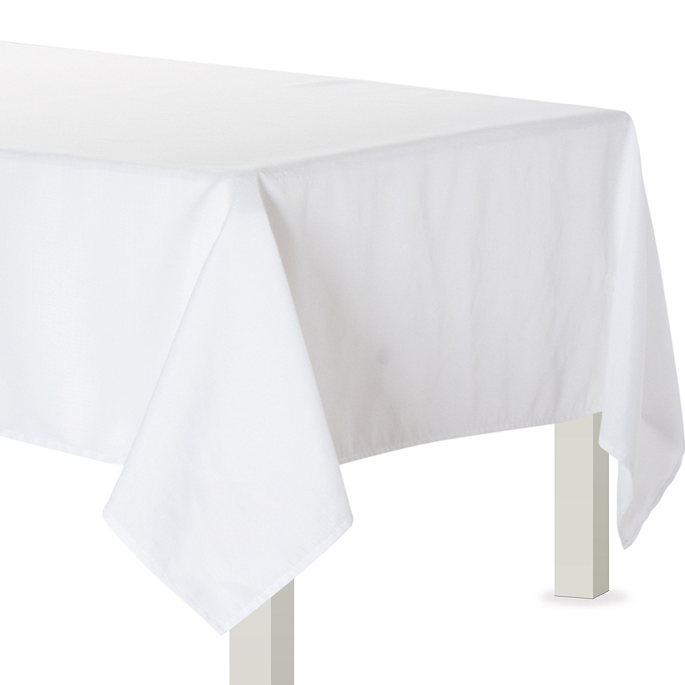 White Fabric Tablecloth Image #1