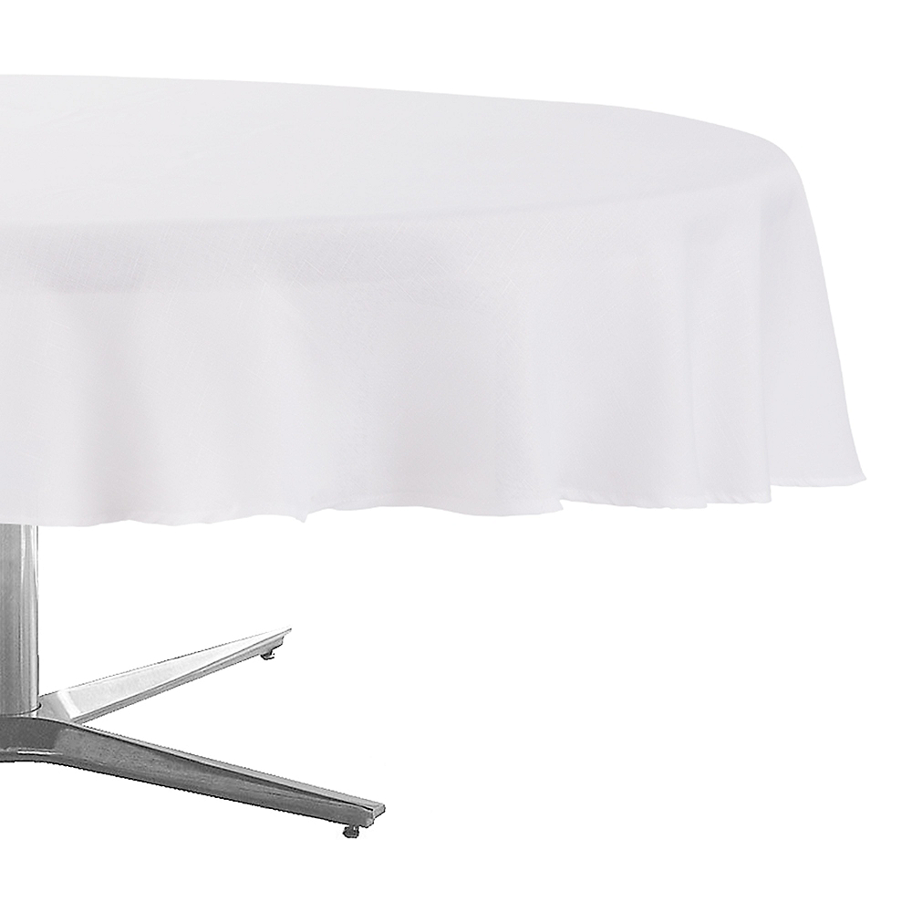 White Fabric Round Tablecloth 70in Party City