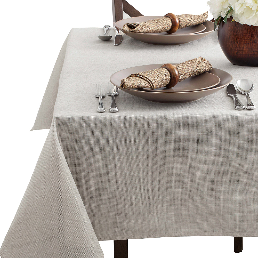 Silver Heathered Fabric Tablecloth Image #2