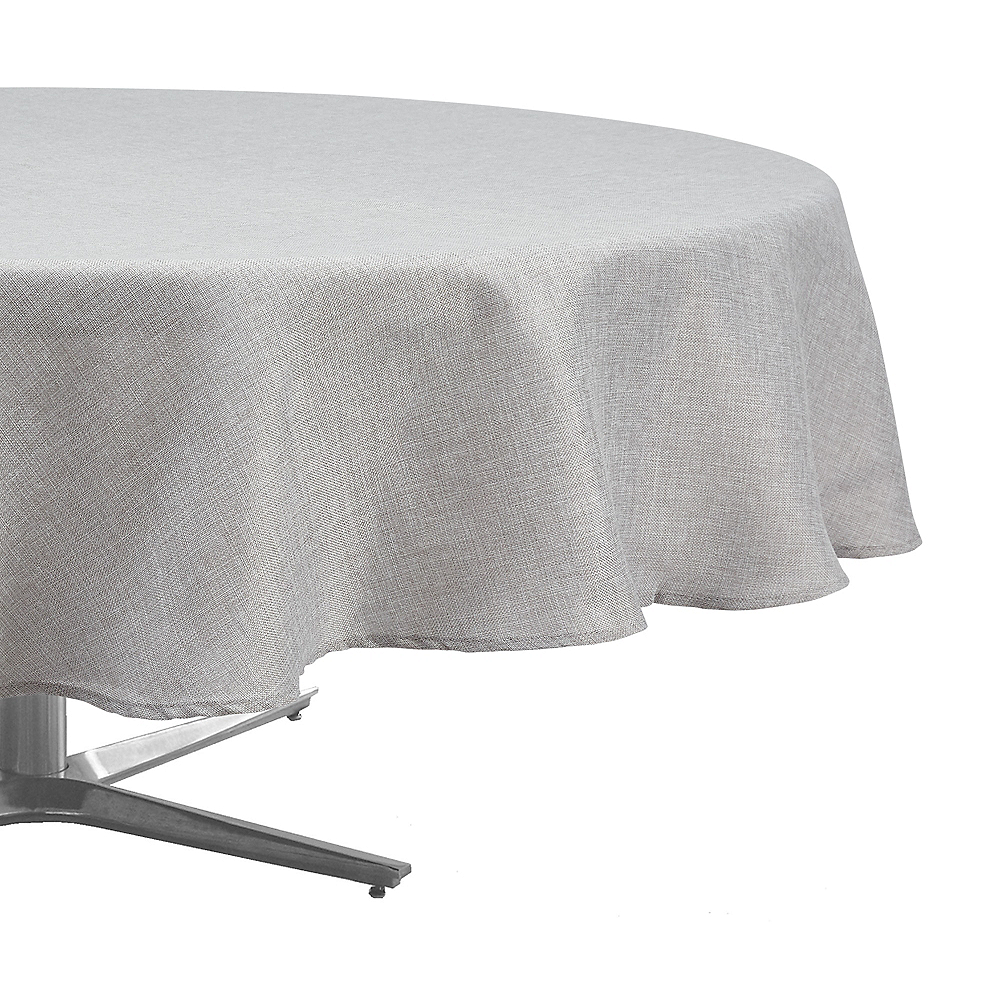 Silver Heathered Fabric Round Tablecloth Image #1