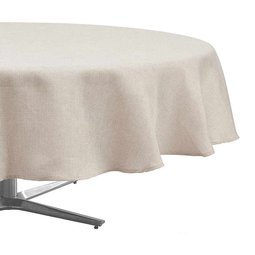 Taupe Heathered Fabric Round Tablecloth Image #1