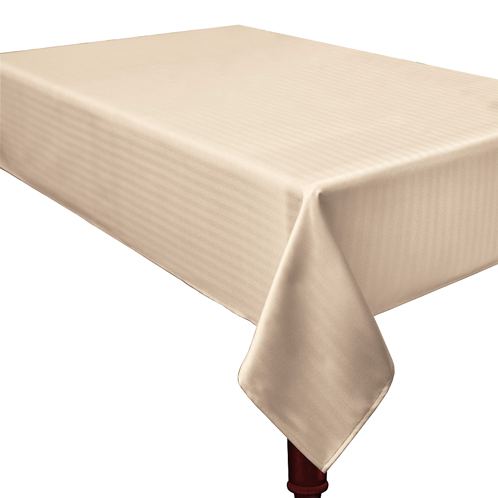 Cream Herringbone Weave Fabric Tablecloth Image #1