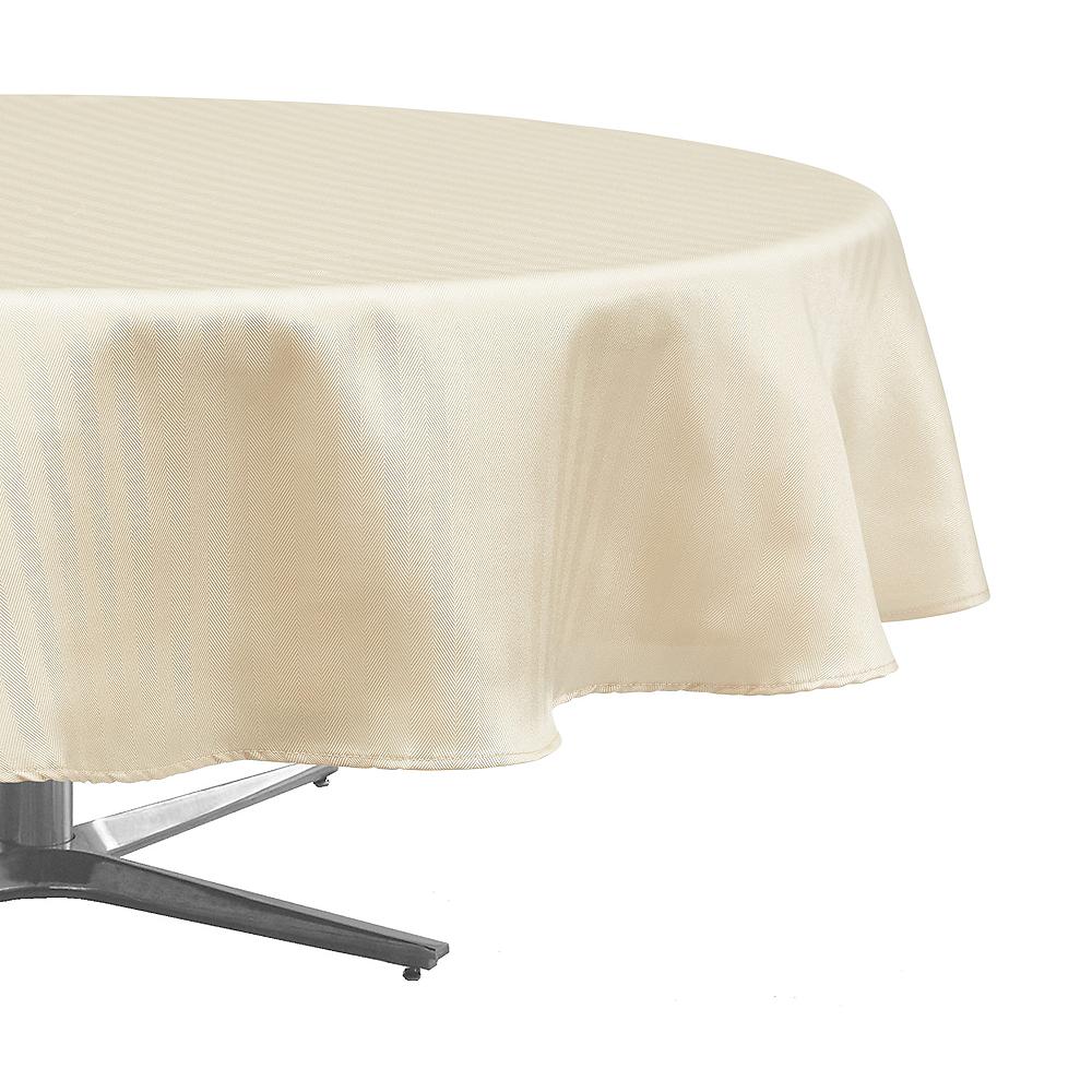 Cream Herringbone Weave Fabric Round Tablecloth Image #1