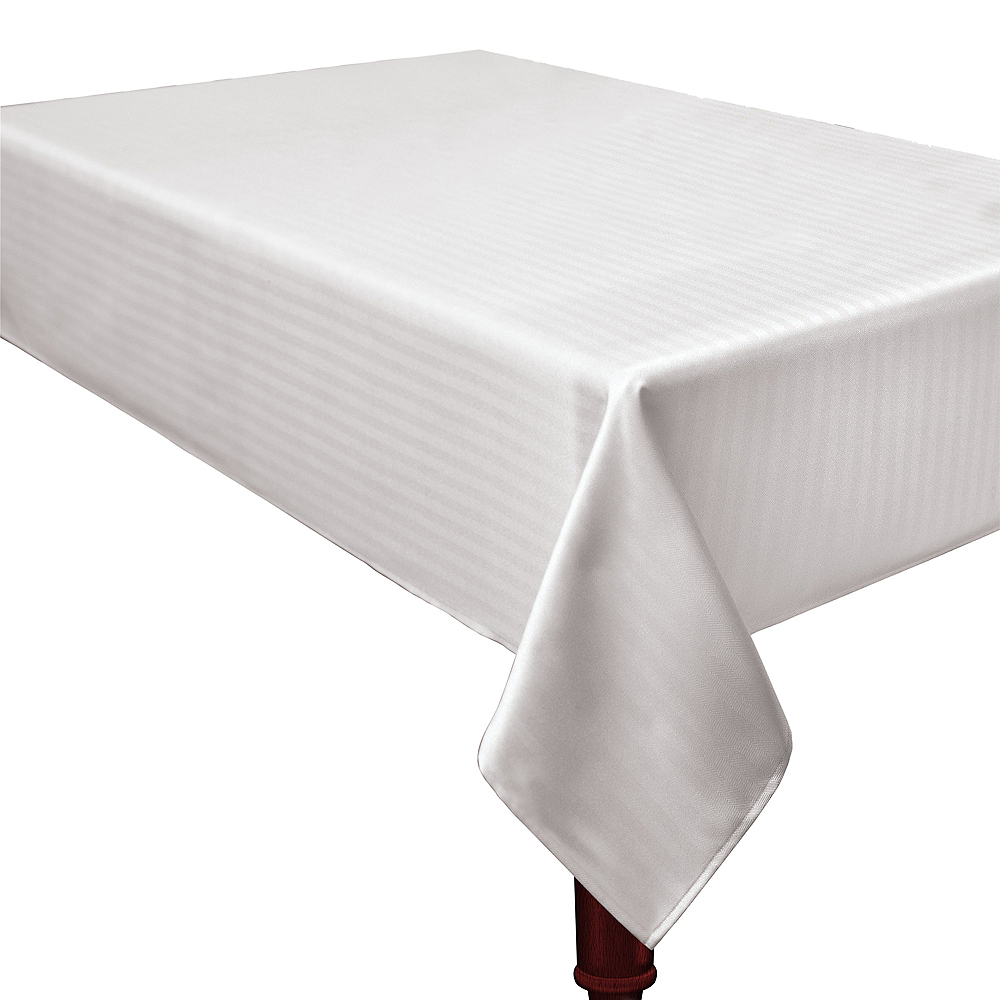 Nav Item for White Herringbone Weave Fabric Tablecloth Image #1