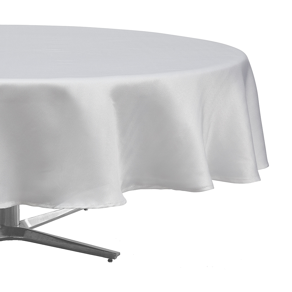 White Herringbone Weave Fabric Round Tablecloth Image #1