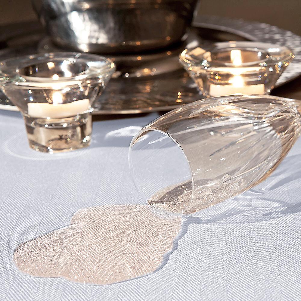 White Herringbone Weave Fabric Round Tablecloth Image #3