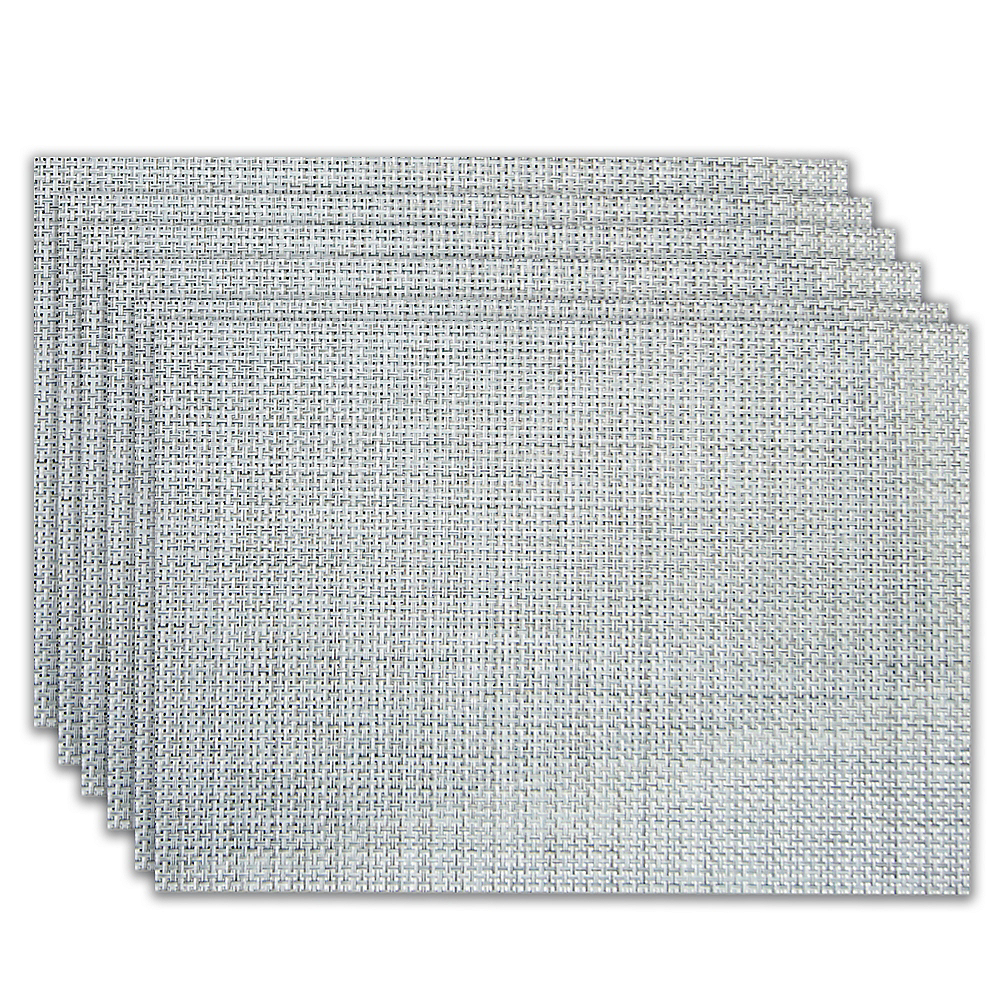 Silver Woven Vinyl Placemats 6ct Image #1