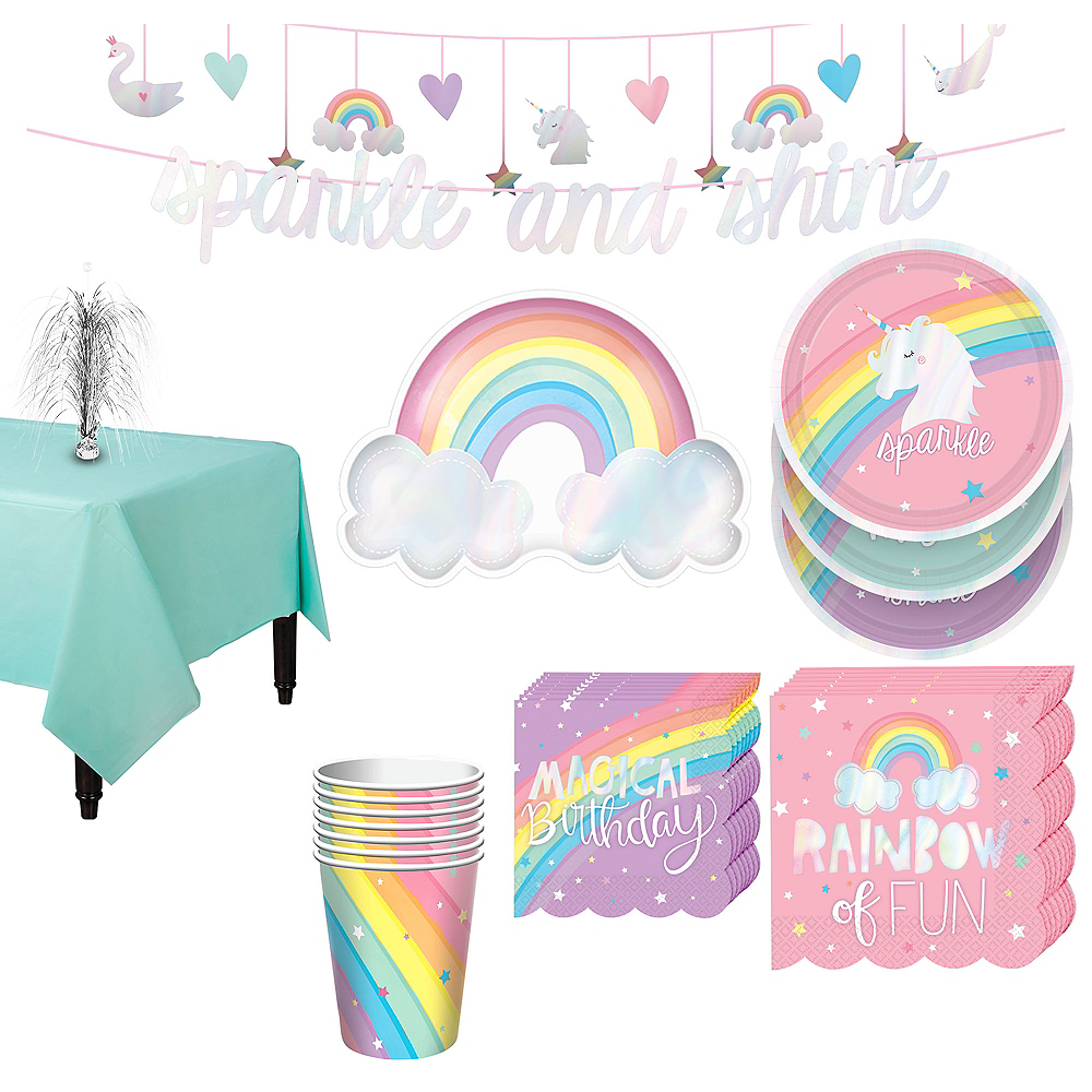 Magical Rainbow Tableware Kit for 8 Guests Image #1