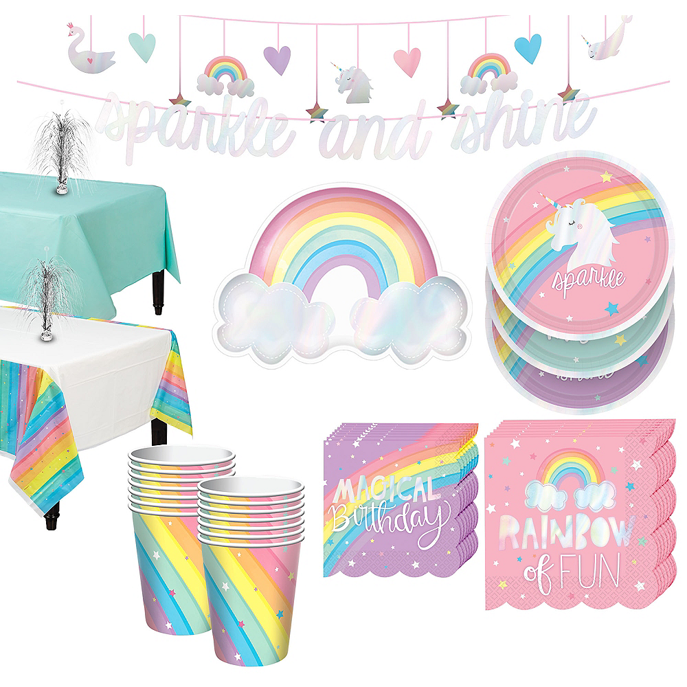 Magical Rainbow Tableware Kit for 16 Guests Image #1