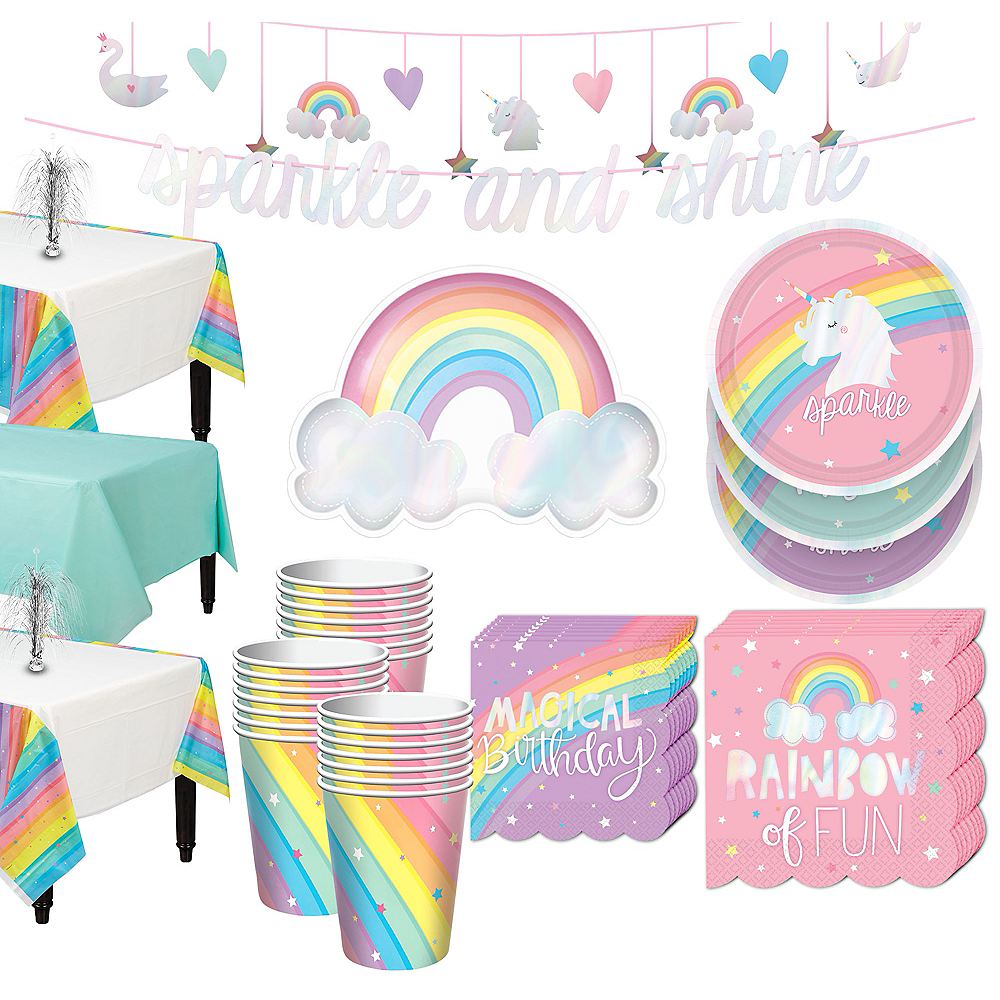 Magical Rainbow Tableware Kit for 24 Guests Image #1
