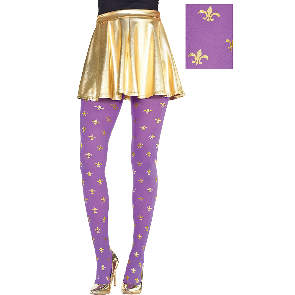 Adult Purple & Gold Fleur-de-Lis Mardi Gras Tights Image #1