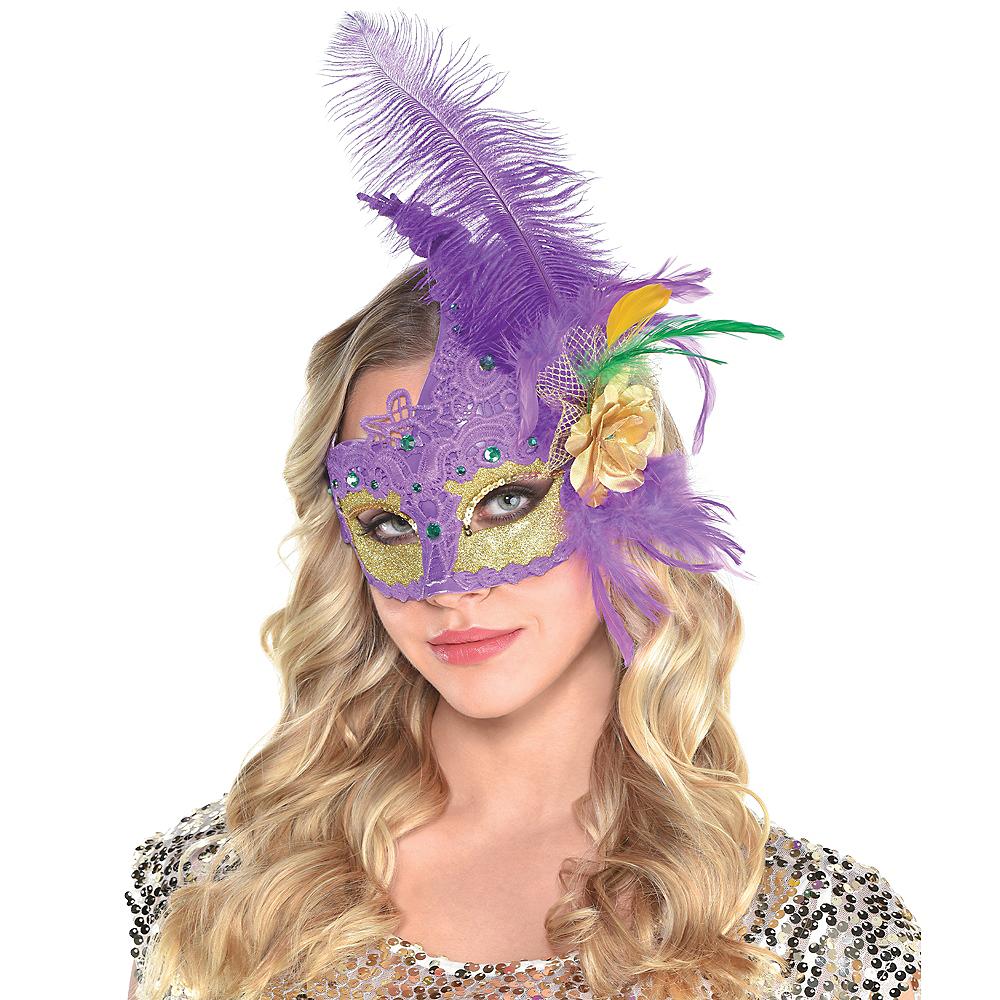 Crochet Mardi Gras Masquerade Mask Image #1