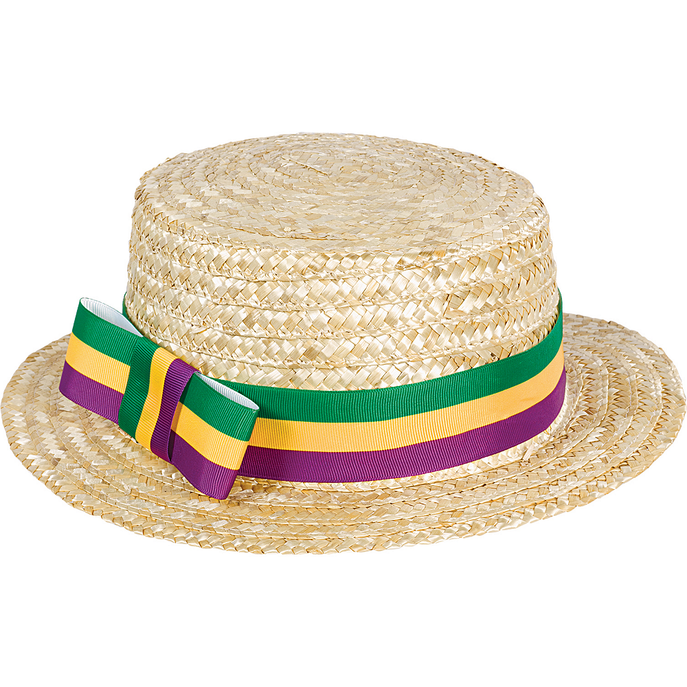 Nav Item for Mardi Gras Straw Skimmer Hat Image #1
