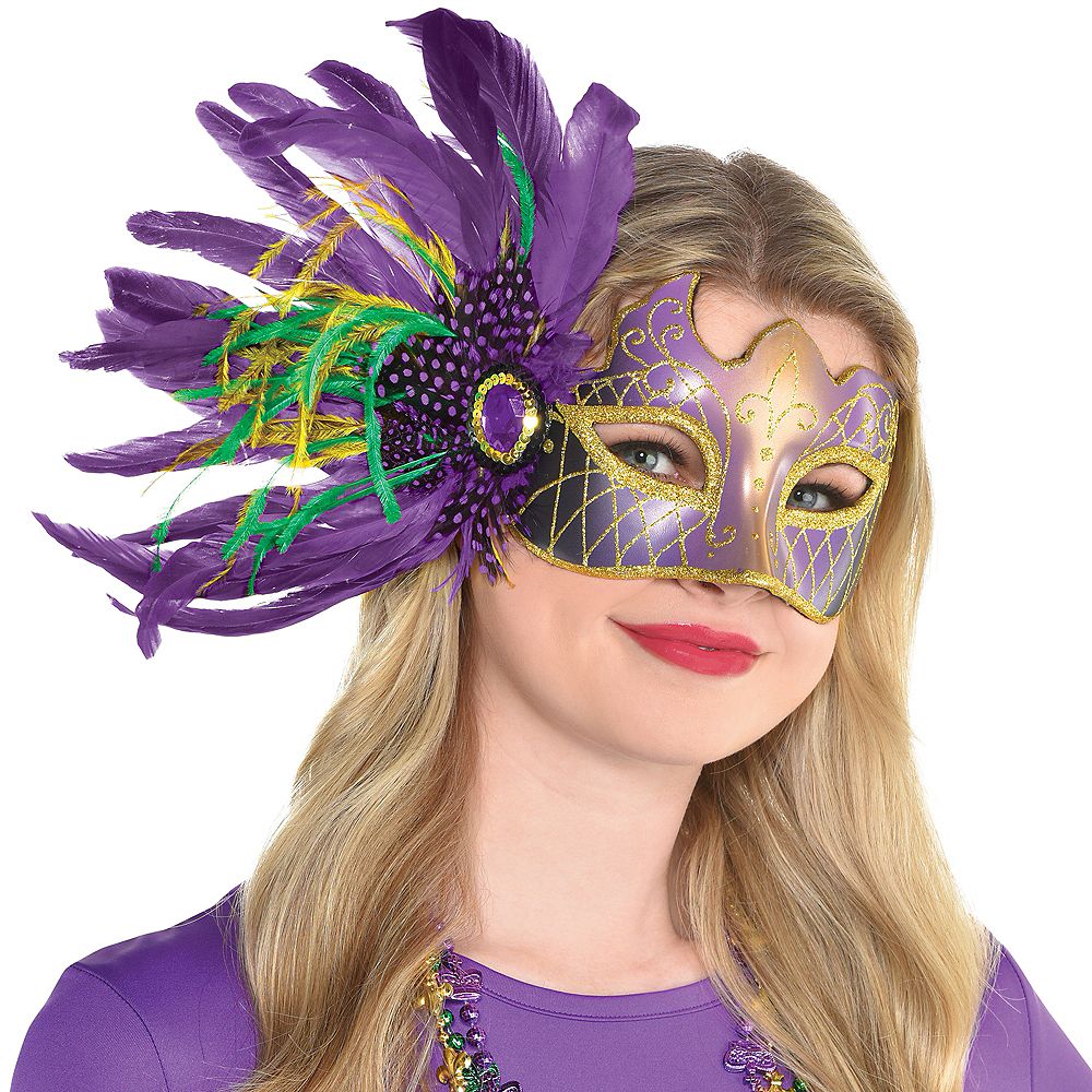 Side Feather Mardi Gras Masquerade Mask Image #1