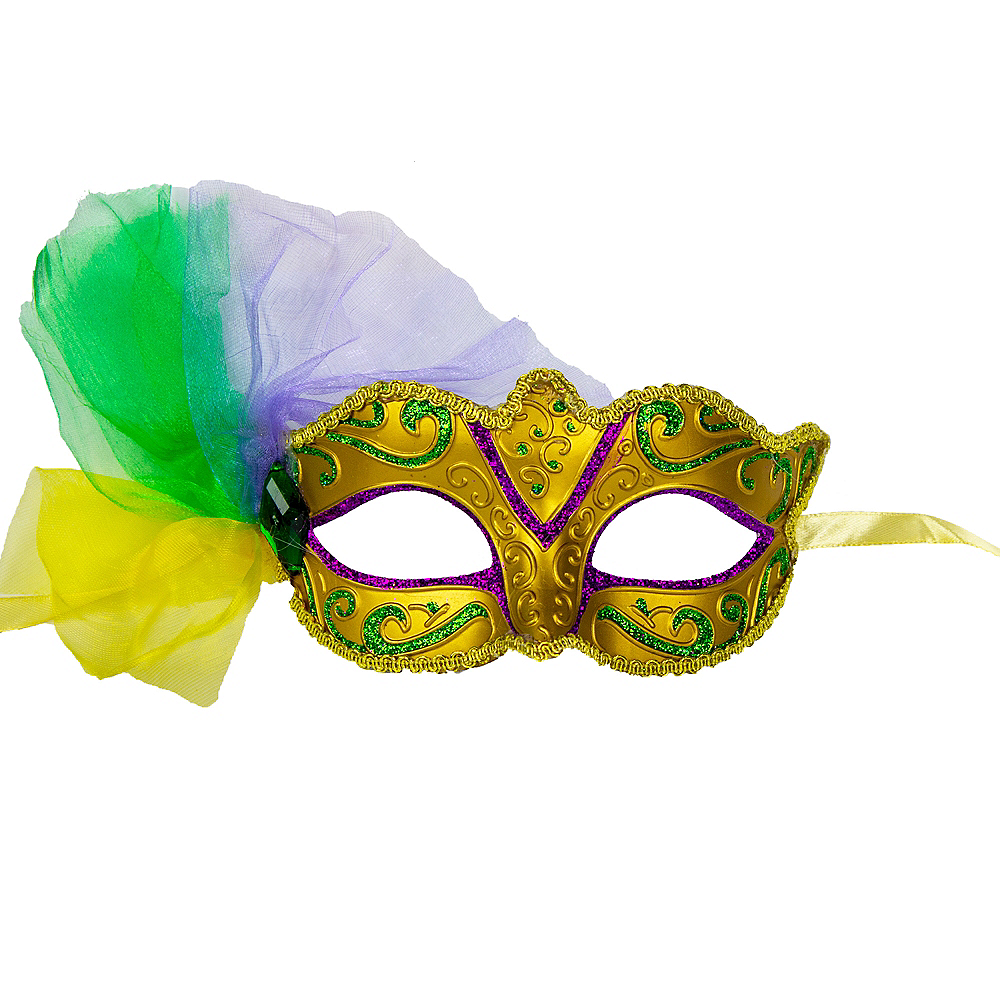 Royal Gold Tulle Mardi Gras Mask Image #1
