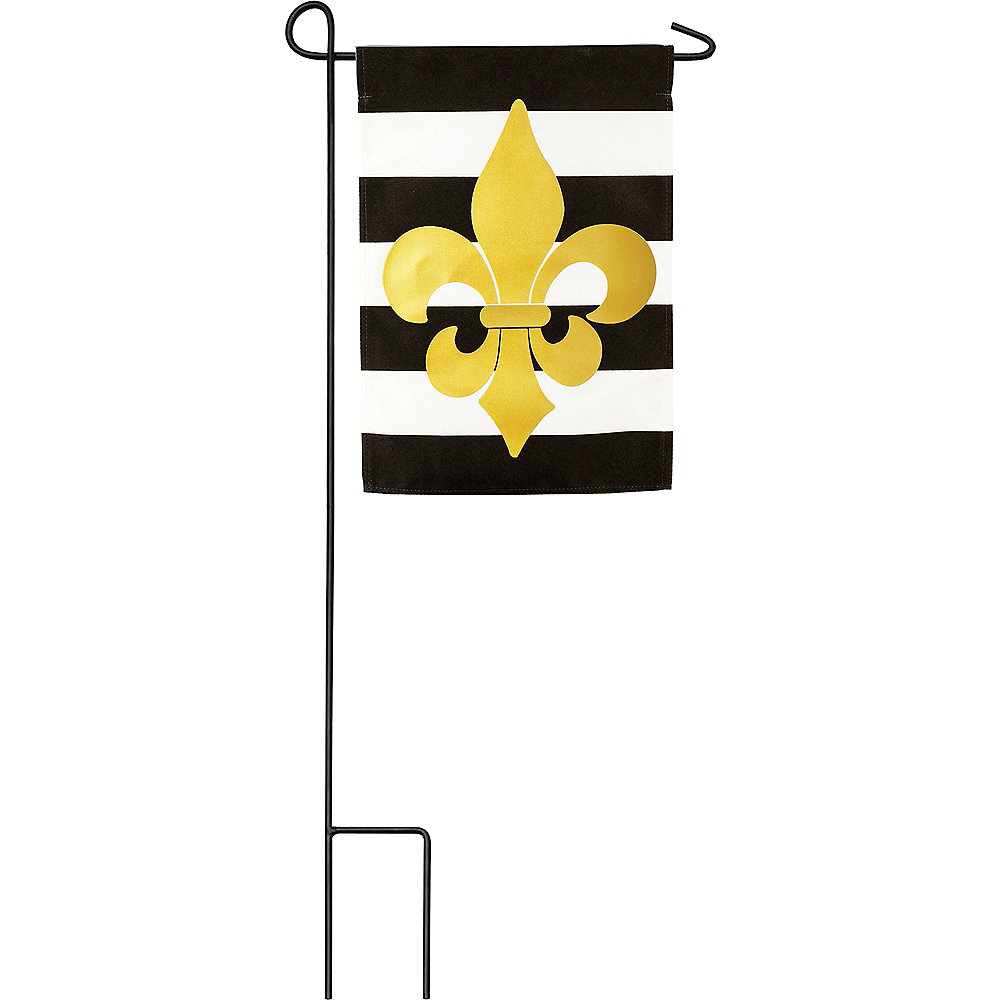 Nav Item for Fleur-de-Lis Black & White Stripe Garden Flag Image #1