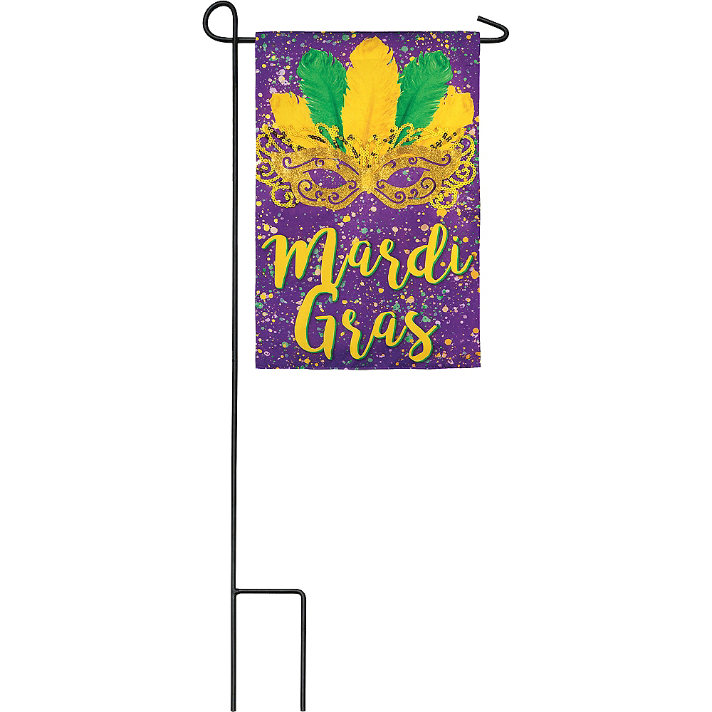 Nav Item for Mask Mardi Gras Garden Flag Image #1