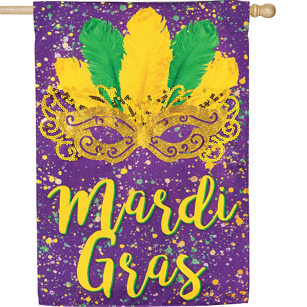 Nav Item for Mask Mardi Gras Garden Flag Image #2