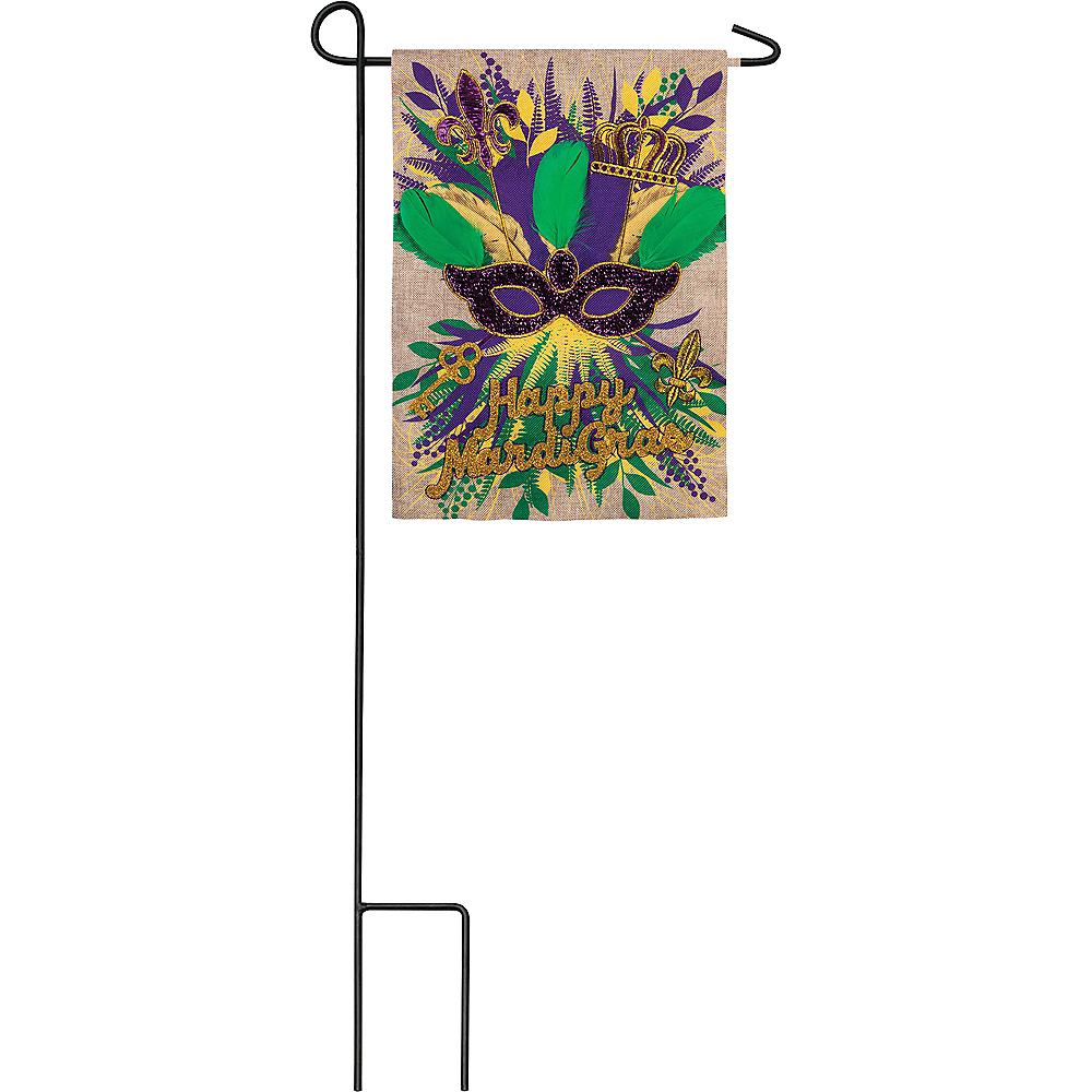 Burlap Mask Mardi Gras Garden Flag Image #1