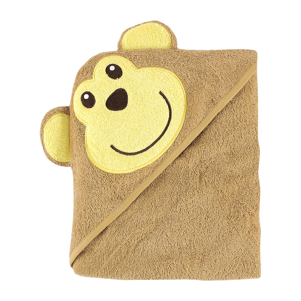 Brown Monkey Luvable Friends Animal Face Hooded Towel Image #1