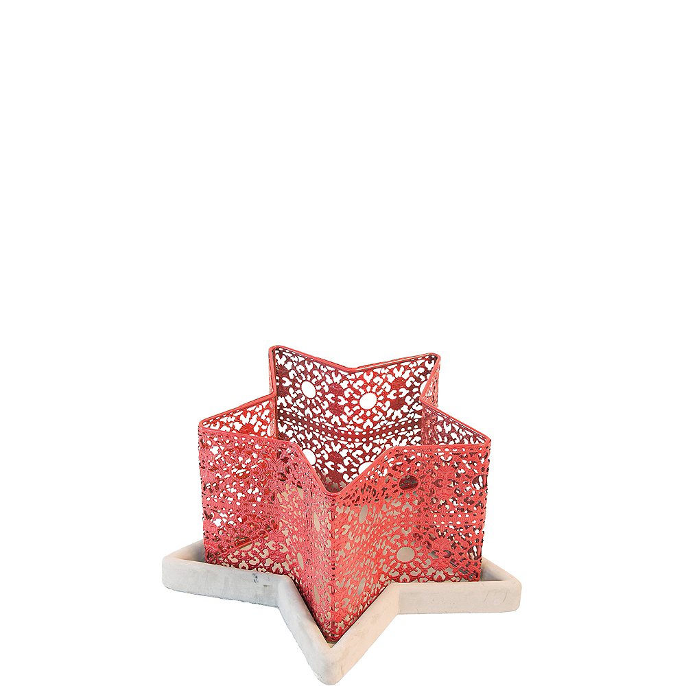 Red Lace Star Candle Holder Image #1