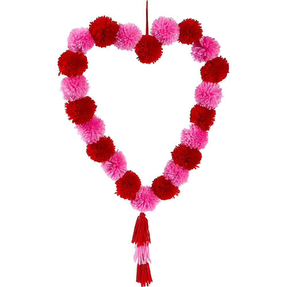 Valentine's Day Heart Pom-Pom Wreath Image #1