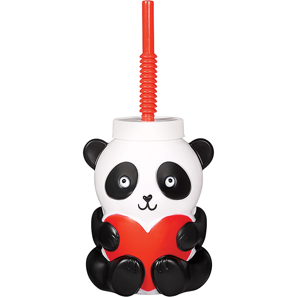 Valentine's Day Panda Cup with Straw Image #1