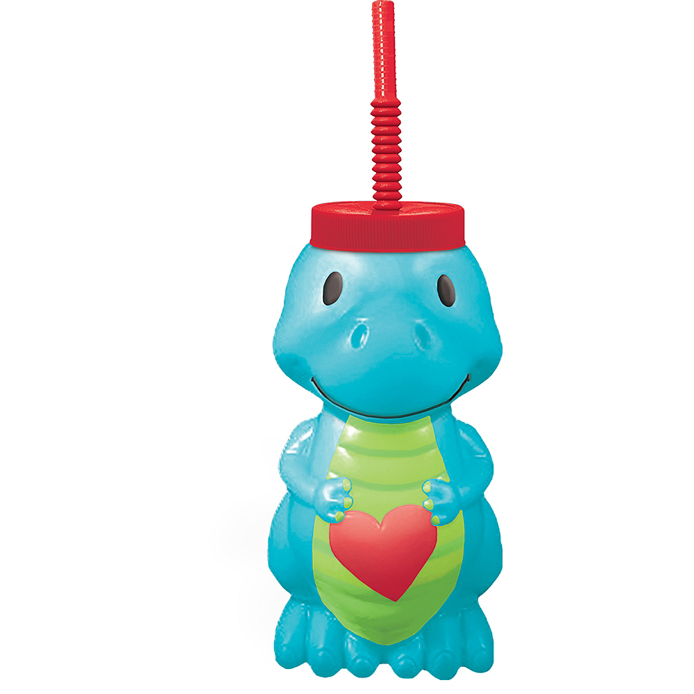 Valentine's Day Dinosaur Cup with Straw Image #1