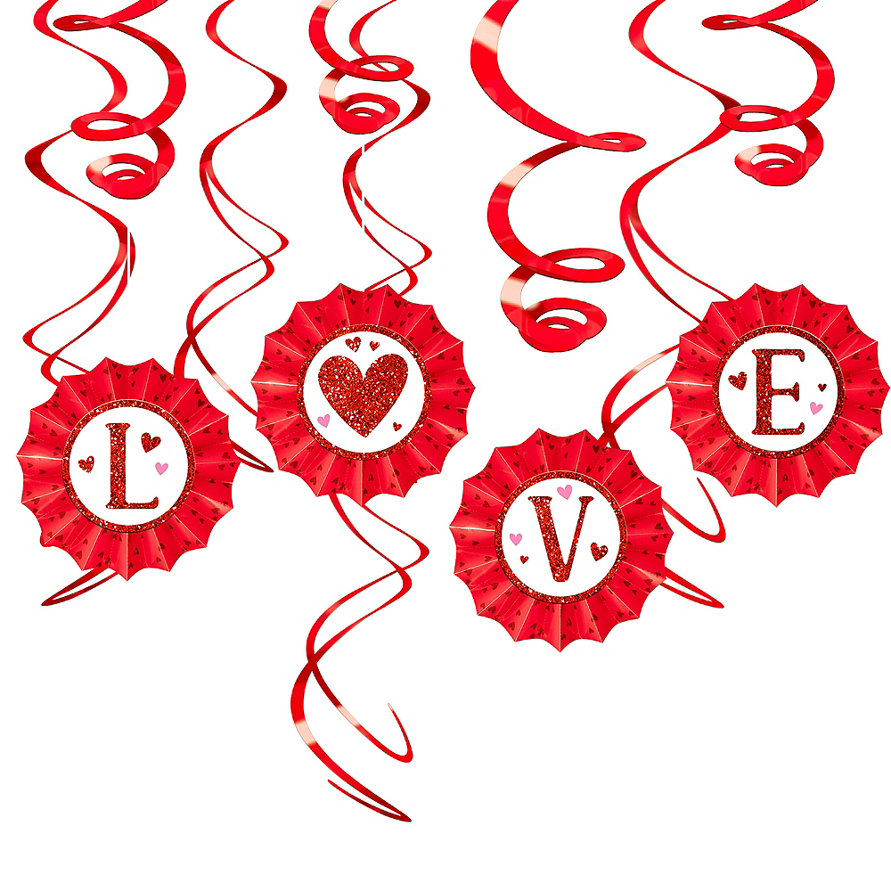 Valentine's Day Love Fan & Swirl Decorations 12pc Image #1