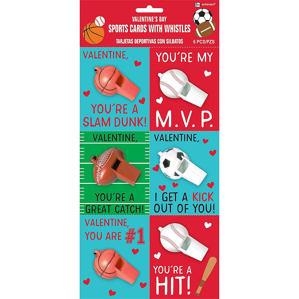 Sports Valentine Exchange Cards with Whistles 6ct Image #1