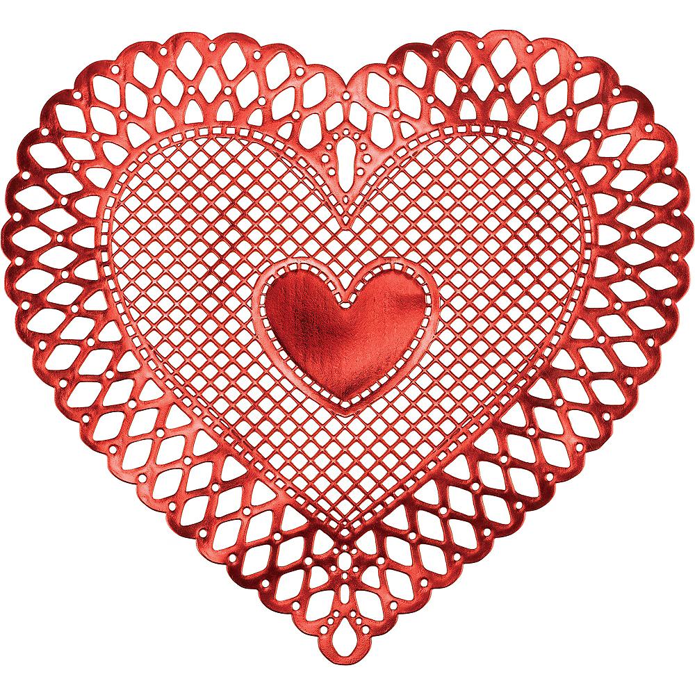 Metallic Red Heart Vinyl Placemat Image #1