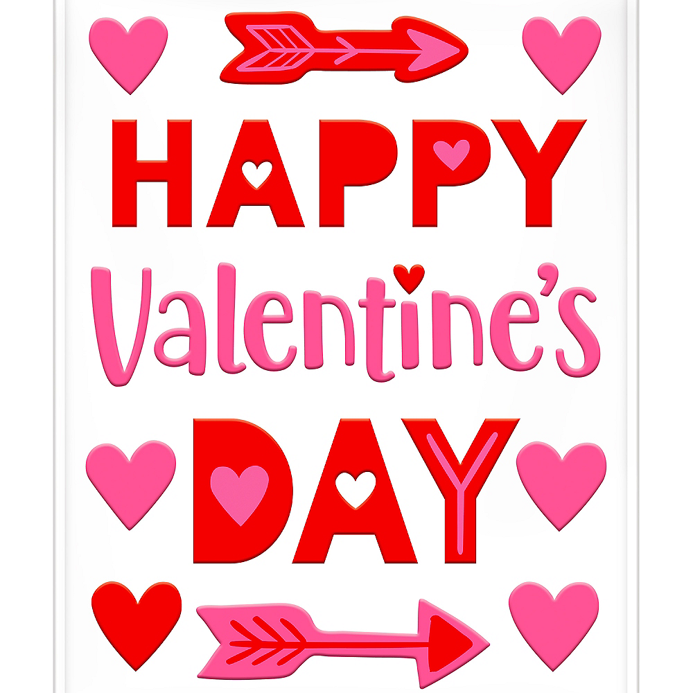Happy Valentine's Day Heart Gel Cling Decals  28ct Image #1