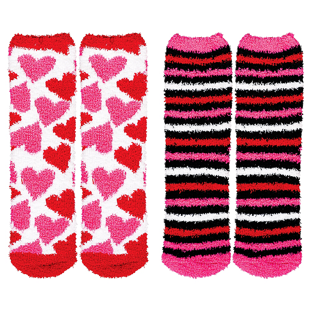 Adult Valentine's Day Hearts Fuzzy Socks 2ct Image #1