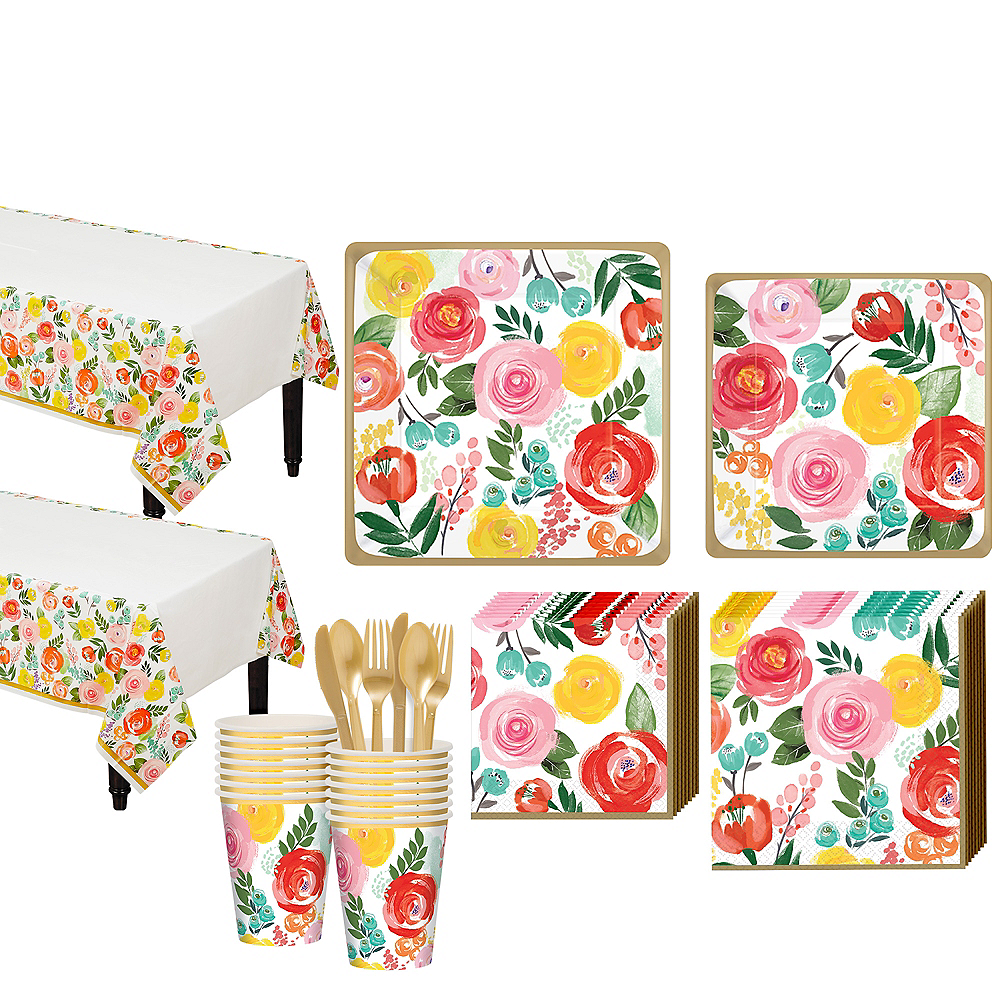 Bright Floral Tableware Kit for 16 Guests Image #1