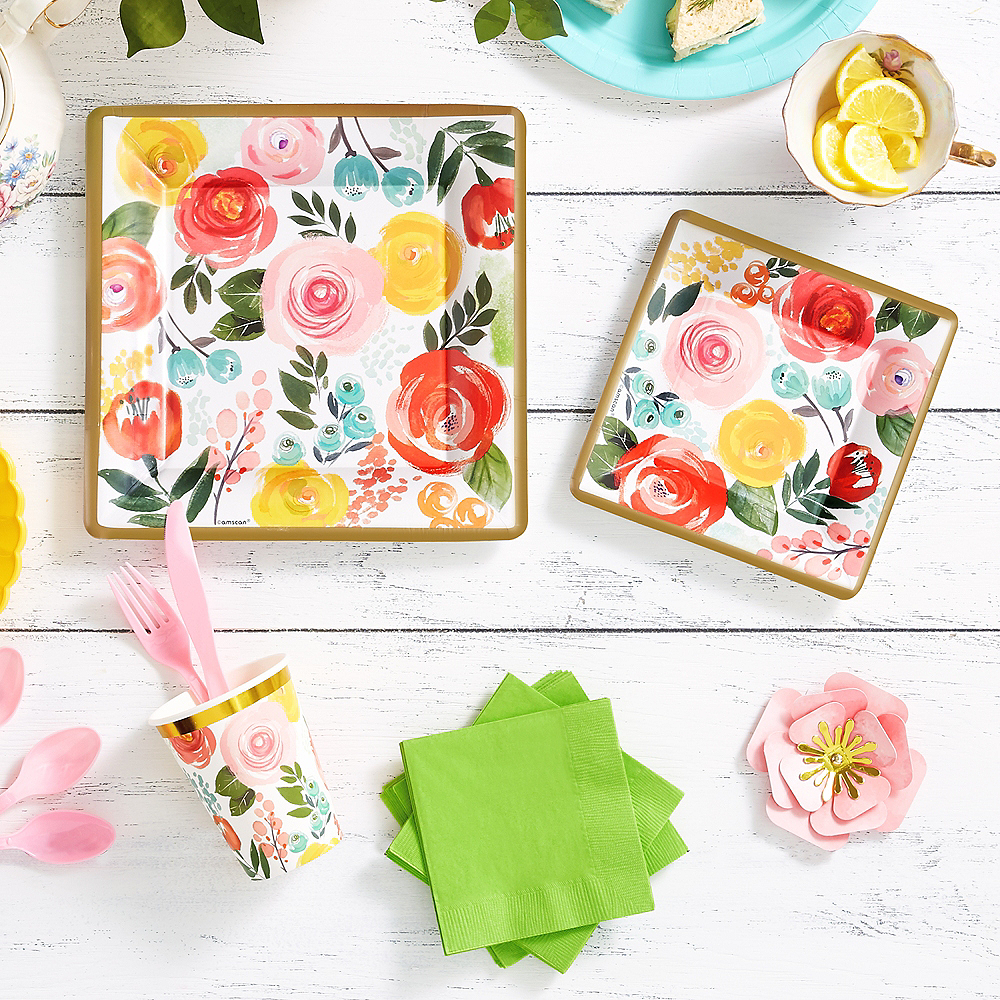 Super Bright Floral Tableware Kit for 16 Guests Image #1